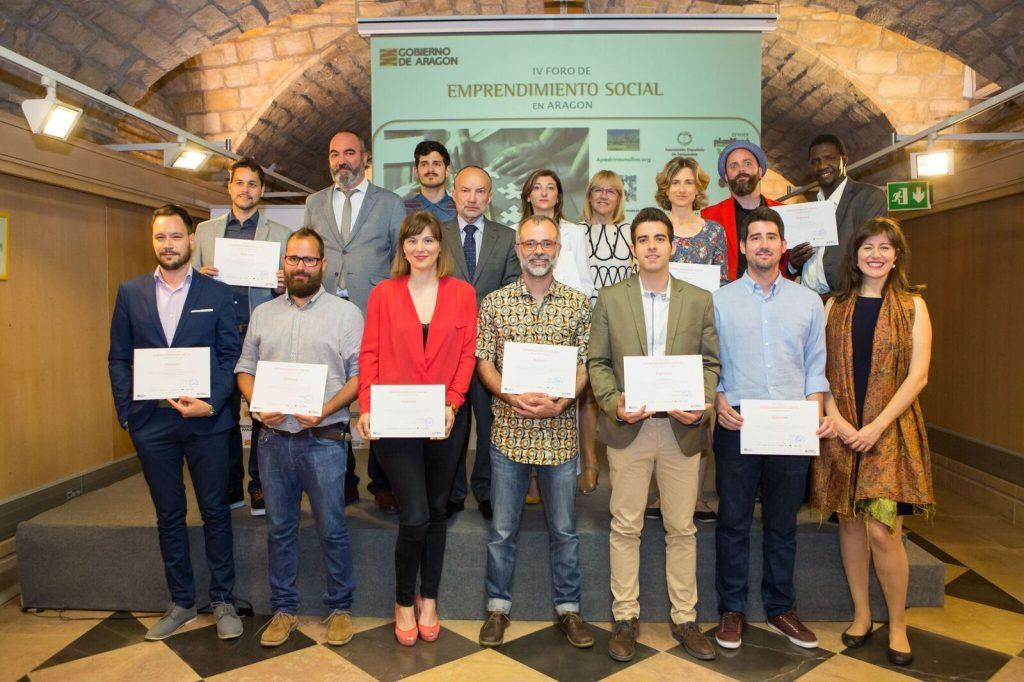 imagen de los finalistas del IV Foro de Emprendimiento Social en Aragón